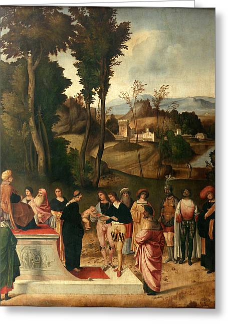 Trial Greeting Cards - Moses undergoing Trial by Fire Greeting Card by Giorgione