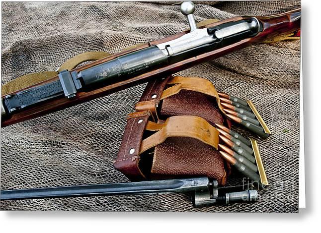 Bayonet Greeting Cards - Mosin Sniper Rifle Greeting Card by Wilma  Birdwell