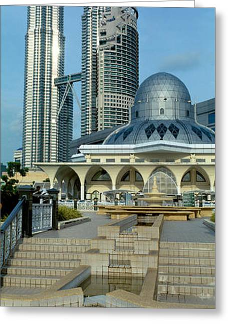 Twin Towers Greeting Cards - Mosque And Petronas Towers Kuala Lumpur Greeting Card by Panoramic Images