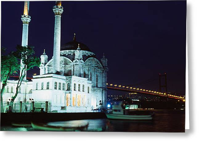Mosque At The Waterfront Near A Bridge Greeting Card by Panoramic Images