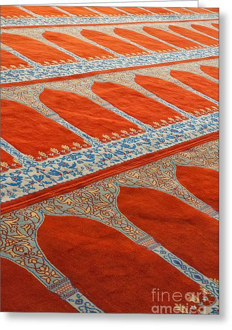 Medieval Temple Greeting Cards - Mosque carpet Greeting Card by Antony McAulay