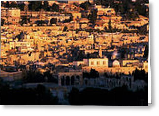Middle Eastern Culture Greeting Cards - Mosque In A City, Dome Of The Rock Greeting Card by Panoramic Images