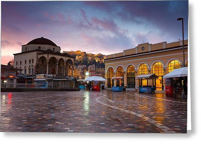 Mosque In Monastiraki Square Greeting Card by Milan Gonda