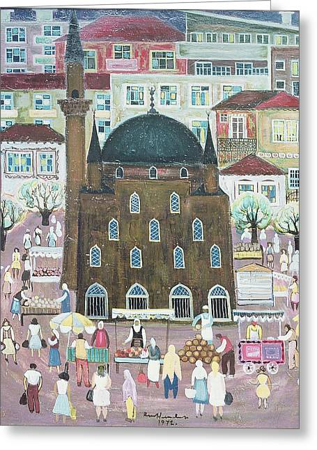 Market Square Greeting Cards - Mosque In Razgrad, 1972 Oil On Canvas Greeting Card by Radi Nedelchev