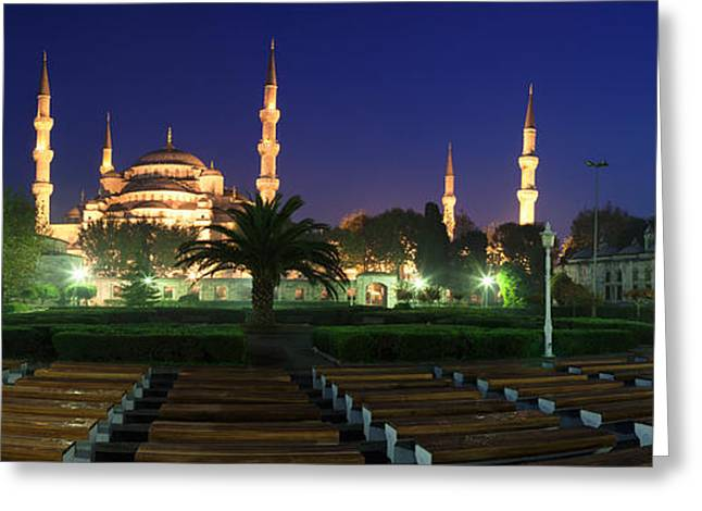 Istanbul Greeting Cards - Mosque Lit Up At Night, Blue Mosque Greeting Card by Panoramic Images