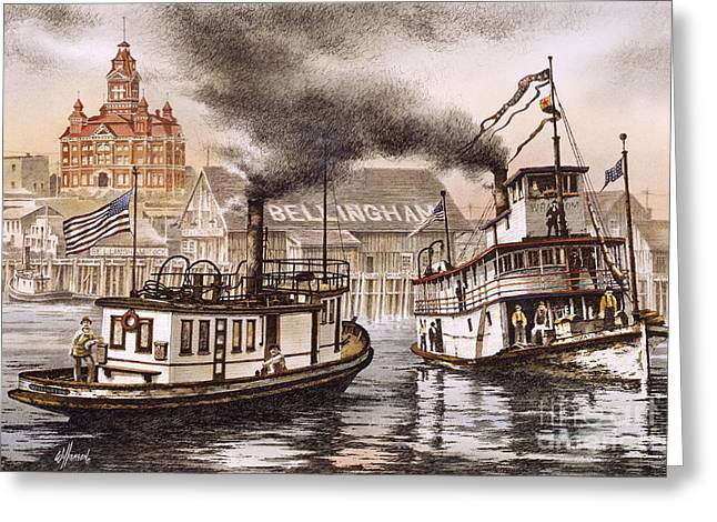 Steamboat Greeting Cards - Mosquito Fleet Steamboats Greeting Card by James Williamson