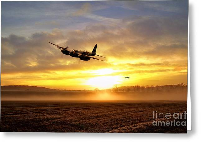 De Havilland Greeting Cards - Mosquitos In The Mist  Greeting Card by J Biggadike