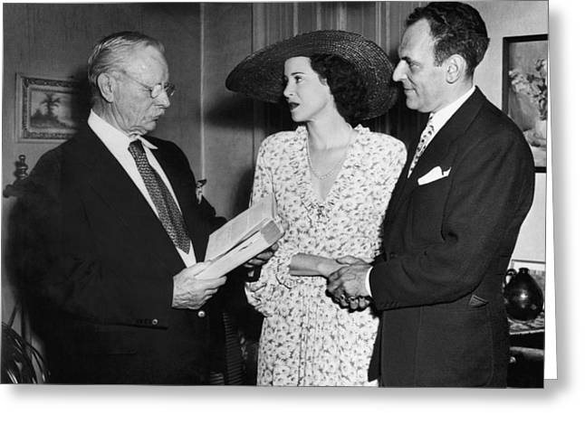 Carlisle Greeting Cards - Moss Hart And Kitty Carlisle Greeting Card by Underwood Archives
