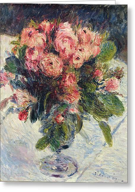 Moss Roses Greeting Card by Pierre Auguste Renoir