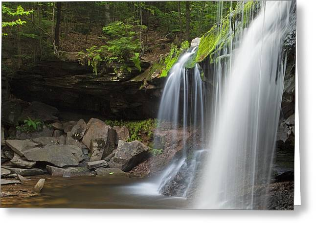 Rest In Peace Greeting Cards - Mossy Green Spring Wilderness Waterfall Plunge Greeting Card by John Stephens