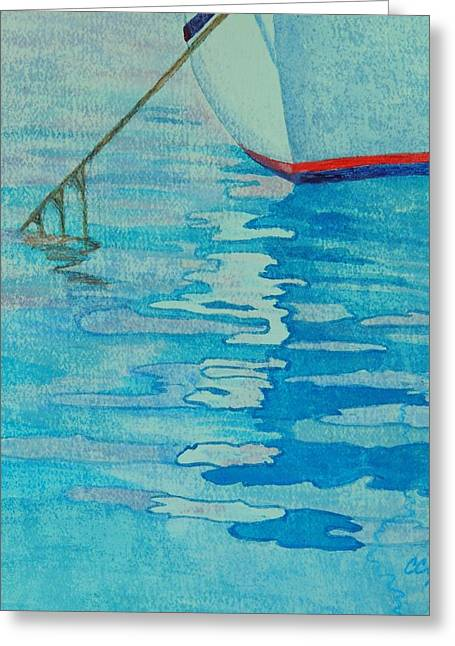 Sailboat Ocean Greeting Cards - Mossy Mooring Greeting Card by Connie Campbell Rosenthal