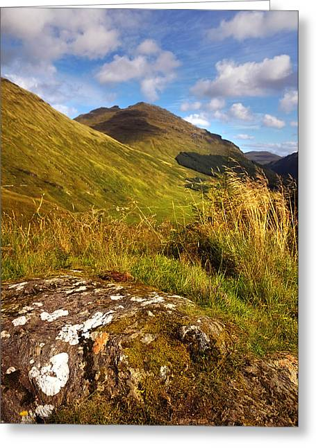 Beautiful Scenery Greeting Cards - Mossy Stone. Rest and Be Thankful. Scotland Greeting Card by Jenny Rainbow