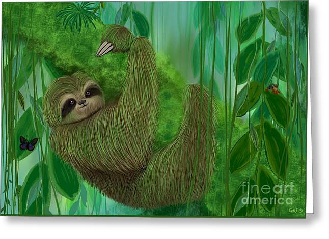 Sloth Greeting Cards - Mossy Three Toed Sloth Greeting Card by Nick Gustafson