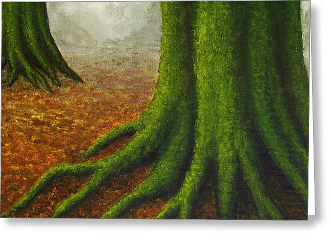 Tree Roots Paintings Greeting Cards - Mossy Trees Greeting Card by Anna Bronwyn Foley
