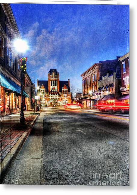 Main Street Greeting Cards - Most Beautiful Small Town in America at Christmas Greeting Card by Darren Fisher