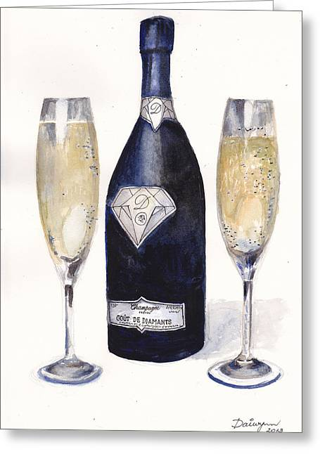 Bubbly Paintings Greeting Cards - Most expensive champagne in the world Greeting Card by Dai Wynn