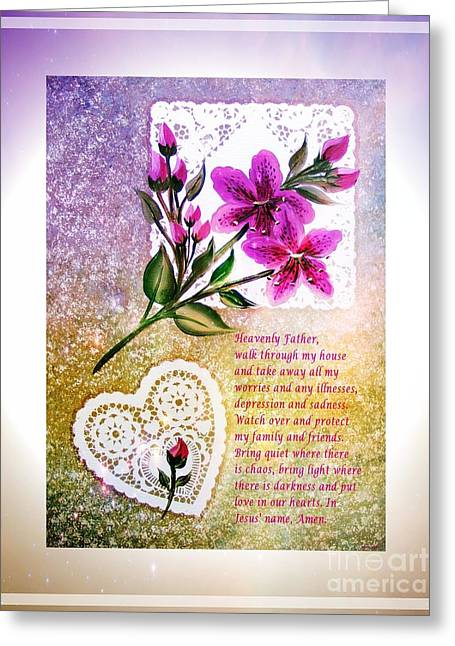 Praying To God Greeting Cards - Most Powerful Prayer with Doilies and Lilies Greeting Card by Barbara Griffin