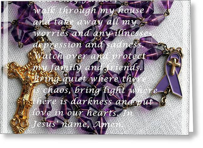 Rosary Mixed Media Greeting Cards - Most Powerful Prayer with Rosary Beads Greeting Card by Barbara Griffin