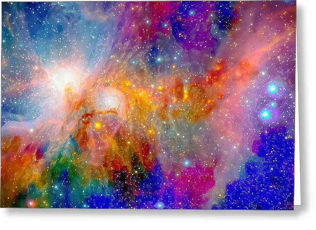 Super Stars Greeting Cards - Most Psychedelic Nebula Gathering Greeting Card by Ron Fleishman