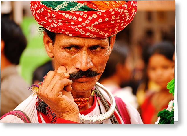 Money Sharma Greeting Cards - Mostach Man Greeting Card by Money Sharma
