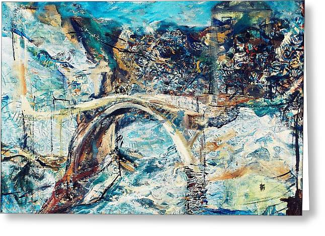 Most Paintings Greeting Cards - Mostar Bridge Greeting Card by Jelena Ignjatovic
