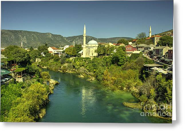 Staris Greeting Cards - Mostar River and Mosque  Greeting Card by Rob Hawkins