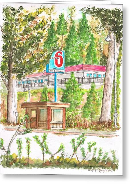 Acuarelas Greeting Cards - Motel 6 in Mammoth Lakes - California Greeting Card by Carlos G Groppa