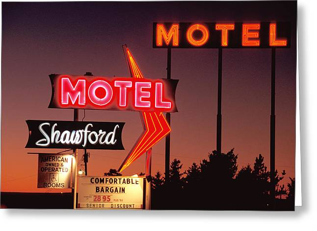 Route 66 Motel Sign Greeting Cards - Motel Greeting Card by Christian Heeb