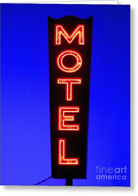 Neon Sign Greeting Cards - Motel Greeting Card by Diane Diederich