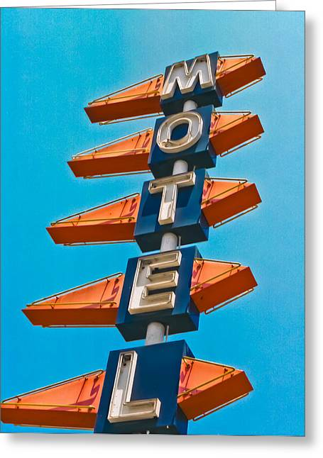 Nostalgic Sign Greeting Cards - Motel Large Greeting Card by Matthew Bamberg