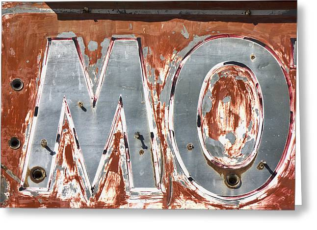 Route 66 Greeting Cards - Motel Sign on Route 66 Greeting Card by Carol Leigh