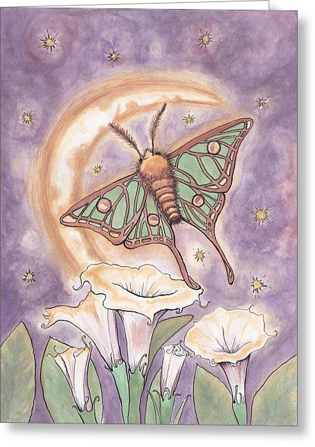 Datura Paintings Greeting Cards - Moth and Moonflowers Greeting Card by Melissa Rohr Gindling