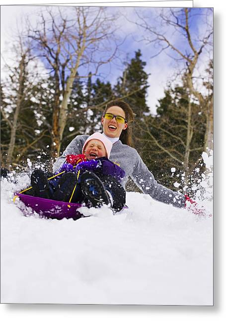 Family Time Greeting Cards - Mother & Daughter Sledding Together Greeting Card by Michael DeYoung