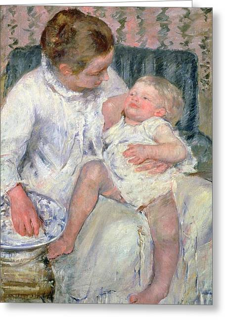 Cassatt Paintings Greeting Cards - Mother About to Wash her Sleepy Child Greeting Card by Mary Stevenson Cassatt
