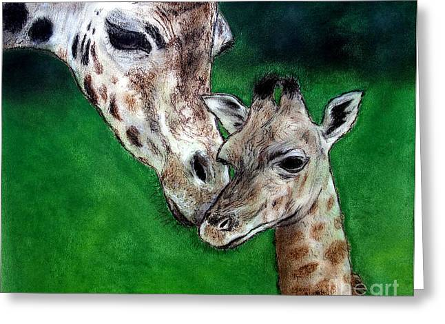 Roller Derby Greeting Cards - Mother and Baby Giraffe Greeting Card by Jim Fitzpatrick