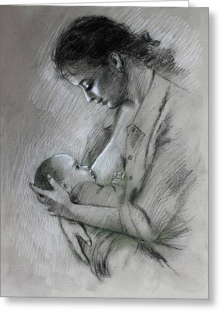 Feeding Young Greeting Cards - Mother and Baby Greeting Card by Viola El