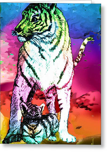 Lounge Paintings Greeting Cards - Mother and Child - The Guardian Greeting Card by Michelle Rene Goodhew