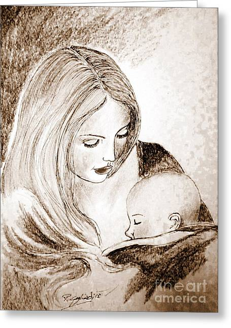 Caring Mother Greeting Cards - Mother and child 2 Greeting Card by Roberto Gagliardi