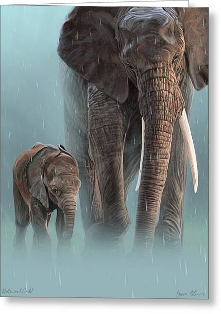 Mother And Child Greeting Card by Aaron Blaise