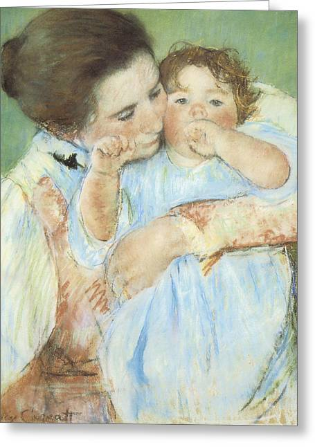 Vintage Pastels Greeting Cards - Mother and Child against a Green Background Greeting Card by Mary Cassatt