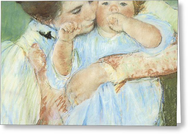 Mother and Child against a Green Background Greeting Card by Mary Cassatt