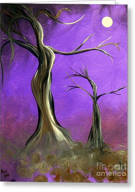Wiccan Art Greeting Cards - Mother And Child Greeting Card by Alys Caviness-Gober