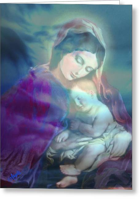 Jesus And The Children Print Paintings Greeting Cards - Mother and Child Greeting Card by Angela Powell