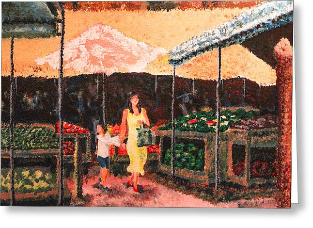 Mother and Child at the Farmer's Market Greeting Card by Robert Yaeger