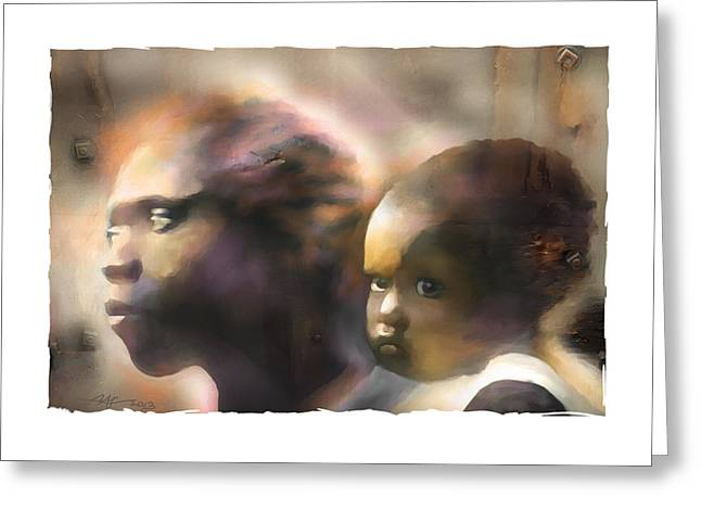 Haitian Digital Greeting Cards - Mother And Child Greeting Card by Bob Salo