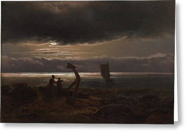 Johan Greeting Cards - Mother and Child by the Sea Greeting Card by Johan Christian Claussen Dahl