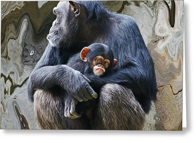 Chimpanzee Digital Greeting Cards - Mother and Child Chimpanzee 2 Greeting Card by Daniele Smith
