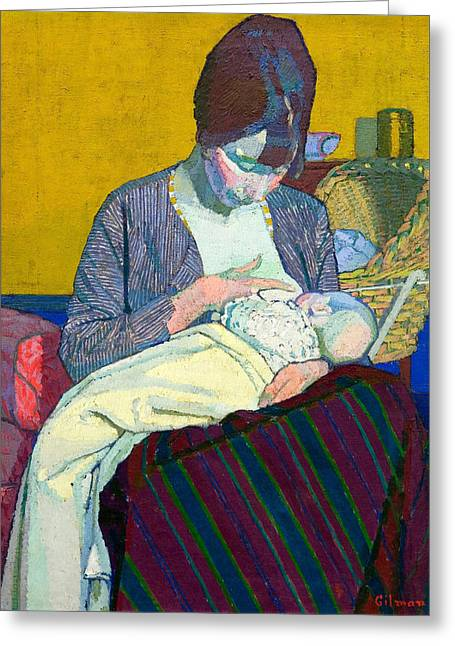 Gilman Greeting Cards - Mother and Child Greeting Card by Harold Gilman