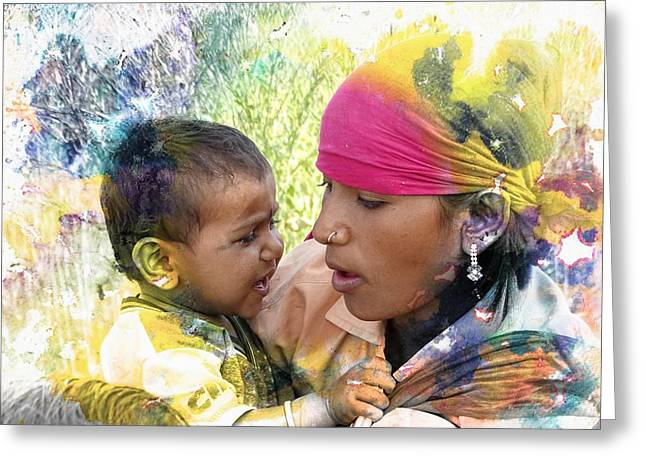 Testament Greeting Cards - Mother and Child Harvest India Rajasthan Greeting Card by Sue Jacobi