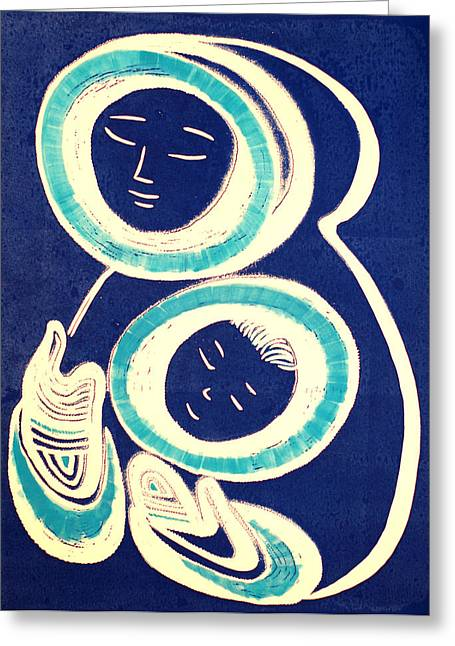 Linocut Reliefs Greeting Cards - Mother and Child in Blue Greeting Card by Vadim Vaskovsky